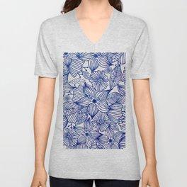 Hand painted royal blue white watercolor floral illustration Unisex V-Neck