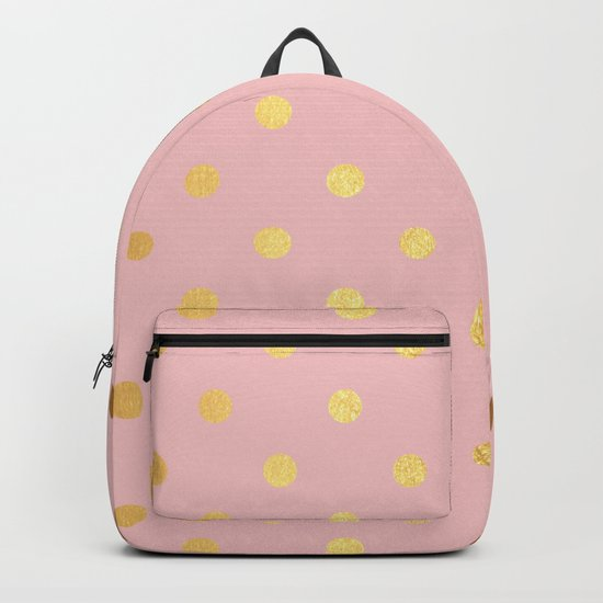Gold polka dots on rosegold background - Luxury pink pattern Backpack