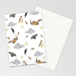 """Night Creatures """"Owl, bat and crow"""" Pattern Stationery Cards"""