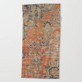 Vintage Woven Navy and Orange Beach Towel
