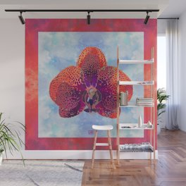 Watercolor Orchid Portrait #2 | Floral Art Print | Scarlet Purple Wall Mural