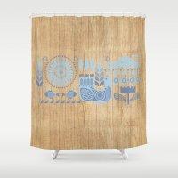 folk Shower Curtains featuring Folk II by Marta Olga Klara