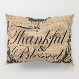 french country jubilee crown thanksgiving fall wreath beige burlap thankful and blessed Pillow Sham