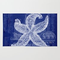 blueprint Area & Throw Rugs featuring Vintage Starfish Blueprint by Fallen Apple Designs