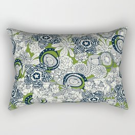 succulents green indigo Rectangular Pillow