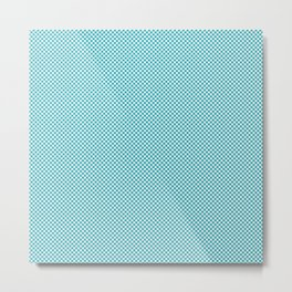 Houndstooth White & Teal small Metal Print