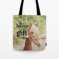arab Tote Bags featuring Horse Quote Arab proverb by KimberosePhotography