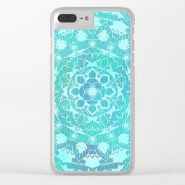 Refreshing Ocean Green Mandala Pattern Clear iPhone Case