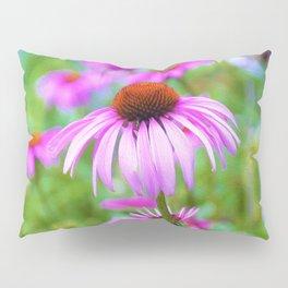 Garden full of Pink Coneflowers Digital Oil Painting Pillow Sham