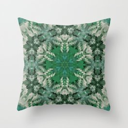 Green mandala  2 Throw Pillow