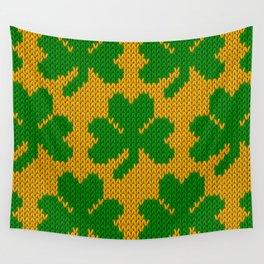 Shamrock pattern - orange, green Wall Tapestry