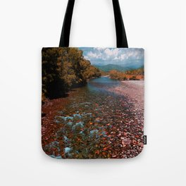 Autumn mountain river #photography #landscape Tote Bag