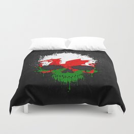 Flag of Wales on a Chaotic Splatter Skull Duvet Cover