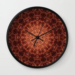 Knit pattern kaleidoscope copper Wall Clock