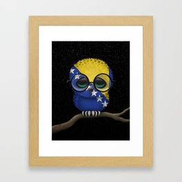Baby Owl with Glasses and Bosnian Flag Framed Art Print