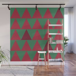 Christmas triangles pattern red and green Wall Mural