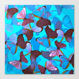 Shiny Blue And Pink Butterflies On A Turquoise Background #decor #society6 #pivivikstrm Canvas Print