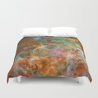 astronomy Duvet Covers featuring Mystic Mountains - Carina Nebula Astronomy Image by Highton Ridley