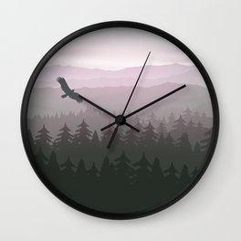 mountain forest in fog and sunrise with stars Wall Clock