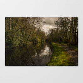 Boyne Canal and bridge in the rain Canvas Print