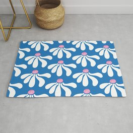 Daisy Chain Blue White & Pink Half Repeat Rug
