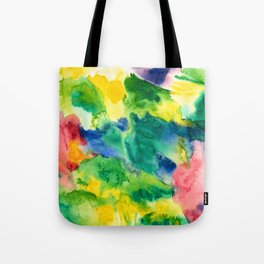 Watercolor Wash Print in Tropical Colors of Green, Blue and Yellow Tote Bag