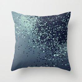 Sparkling Blue Summer Night Lady Glitter #1 #shiny #decor #art #society6 Throw Pillow
