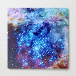galaxy blue sparkle Metal Print