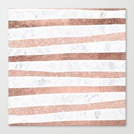 Modern faux rose gold glitter foil marble stripes pattern Canvas Print