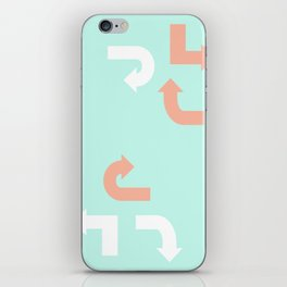 Turquoise & Coral (3) iPhone Skin