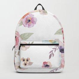 Floral I - White Backpack