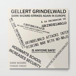1926 Wizard Newspaper Headlines - Grindelwald Metal Print