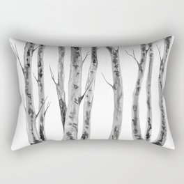 Birch Trees | Indian Ink Illustration | Canadian Art Rectangular Pillow