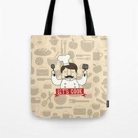 cook Tote Bags featuring Let's Cook! by Lalaine Lim