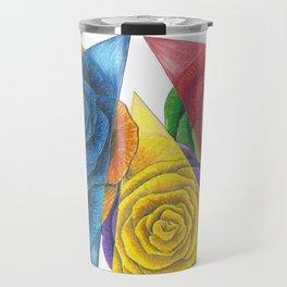 Complimentary Color Rose Trio With Geometric Triangles Travel Mug