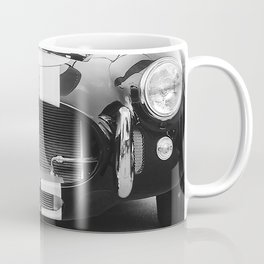 Close Up Photo of Classic Sports Car in Black and White Coffee Mug
