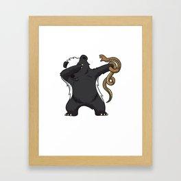 Dabbing Honey Badger Fighting Snake Framed Art Print