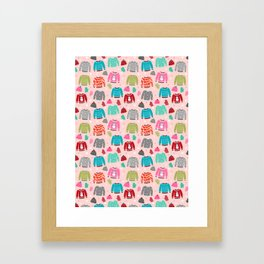 Sweater weather snow day cute pattern pink kids room decor gloves mittens beanie hats Framed Art Print