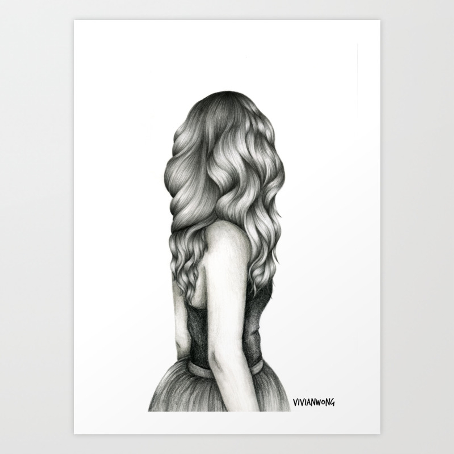 Black white pencil sketch wavy hair girl art print
