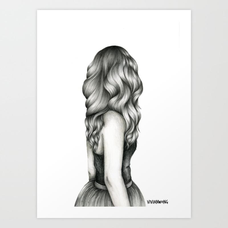 Black White Pencil Sketch Wavy Hair Girl Art Print By Vivianhitsugaya Society6