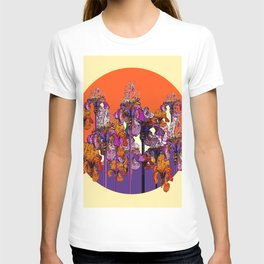 "modern art "" PURPLE & CREAM "" ORANGE IRIS GARDEN T-shirt"