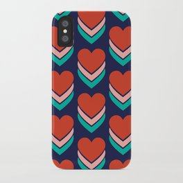 Sweethearts (Red, Pink & Turquoise on Dark Blue) iPhone Case