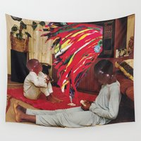 tv Wall Tapestries featuring Television by Lerson