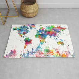 world map watercolor collage Rug