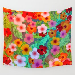 Colorful Hibiscus Wall Tapestry