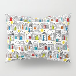 Happy Day in the City // Home Sweet Home in Quirky Neighborhood with Bright Smiling Sun Pillow Sham