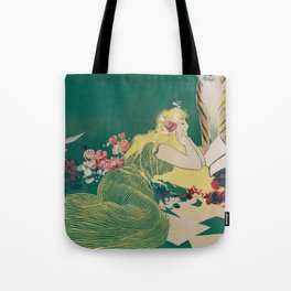 Fantasy Art Deco Woman With Pet Tiger Self culture (edited) - The Werner Company - 1890-1900 Tote Bag