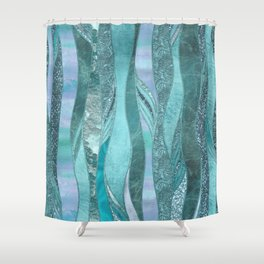 Precious Aqua And Turquoise Glamour Shower Curtain