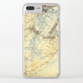 Vintage Staten Island Map Clear iPhone Case