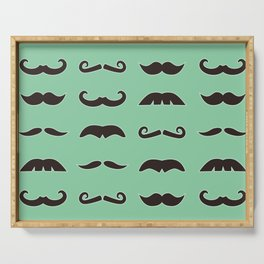 Vintage brown mustaches on seafoam green background Serving Tray
